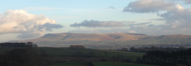 Pendle viewed from the car.