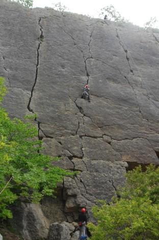 Climber midway on Jean Jeanie.