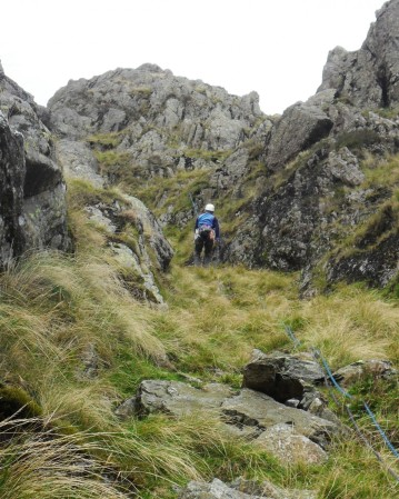 Abseiling the slippy gully.