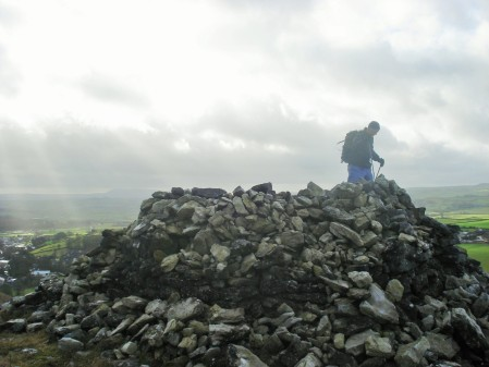 Schoolboys' Cairn with Pendle in the background.