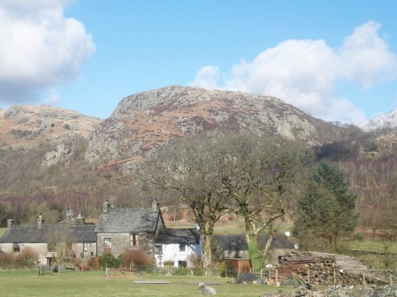 Wallowbarrow Crag above Seathwaite.