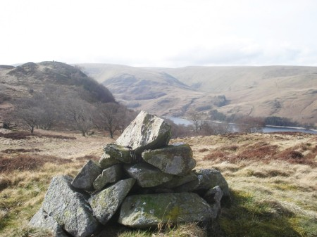 View back from the last top = Hugh's Laithes Pike, Haweswater and Measand Beck.