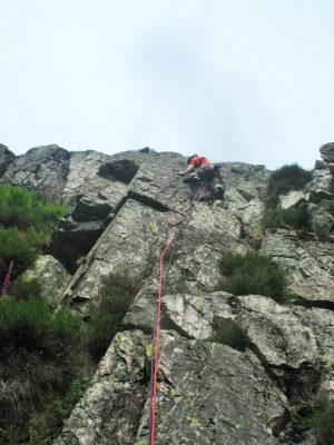 Mark onto the arete of Bee Line.