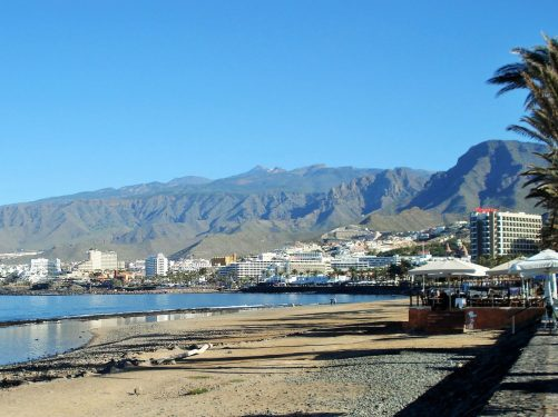 Playa de la Americas and distant Mount Teide.